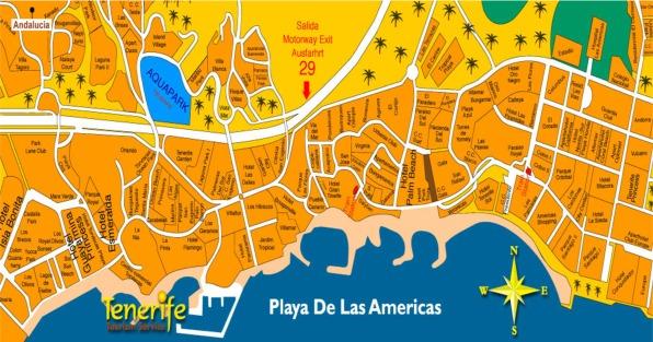 Map of Playa de las Americas for Tourists Map showing Playa de las Americas